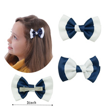 "3"" Boutique White Navy Grosgrian Hair Bow With Clip For School Little Girl Hair Accessories 5pcs/lot"