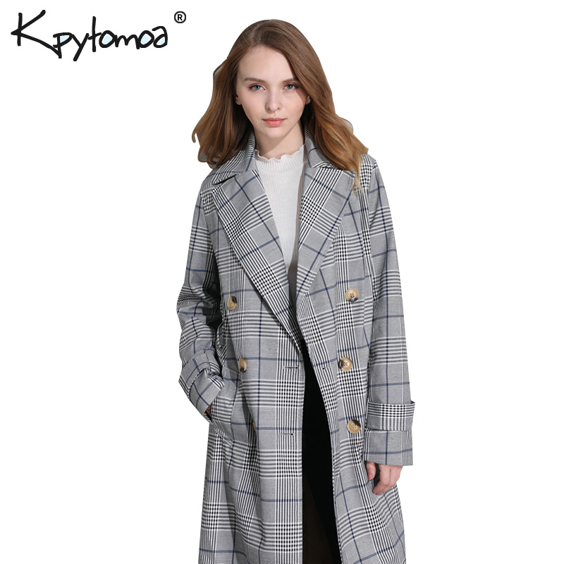 Vintage Houndstooth Double Breasted Sashes Long   Trench   Coat Women 2018 Fashion Lapel Collar Plaid Outerwear Casual Casaco Femme