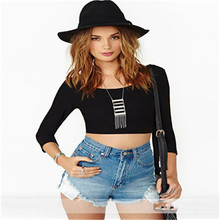 2017 Hot sale t -shirt Women Sexy Backless Crop Top Casual T-Shirt 2017 Europe And America Summer Fashion New Short Tee Tops