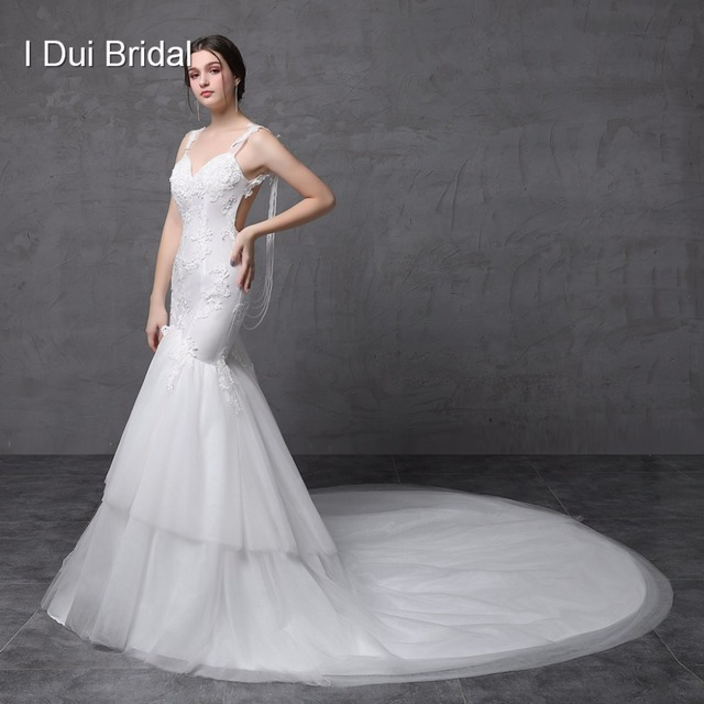 Backless Sexy Mermaid Wedding Dresses Pearl String Lace Appliqued Tulle Tiered Bridal Gown