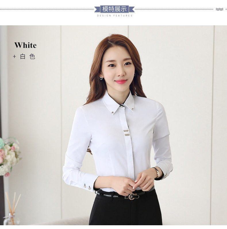 HTB1TH7ALXXXXXclXXXXq6xXFXXXx - Long sleeve shirt black white slim cotton blouse office ladies