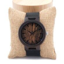 Бобо Птица C24P Деревянные Часы Мужчины Марка Дизайнер Кожаный Ремешок 100% черного Дерева Часы для Мужчин Женщины Кварцевые Часы в Подарочной Коробке
