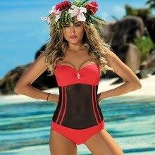 Черный купальник пуш-ап цельный купальник женский Новый сетчатый купальный костюм женский лоскутный Монокини бандо боди трикини Майо