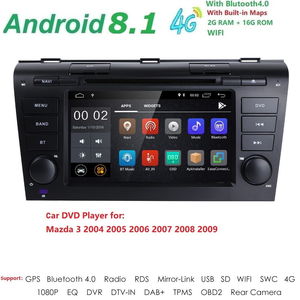 2 GRAM 1024*600 QuadCore Android8.1 Fit MAZDA 3 MAZDA3 2004 2005 2006 2007 2008 2009 Voiture Lecteur DVD GPS Radio DVR DAB MIROIR LIEN