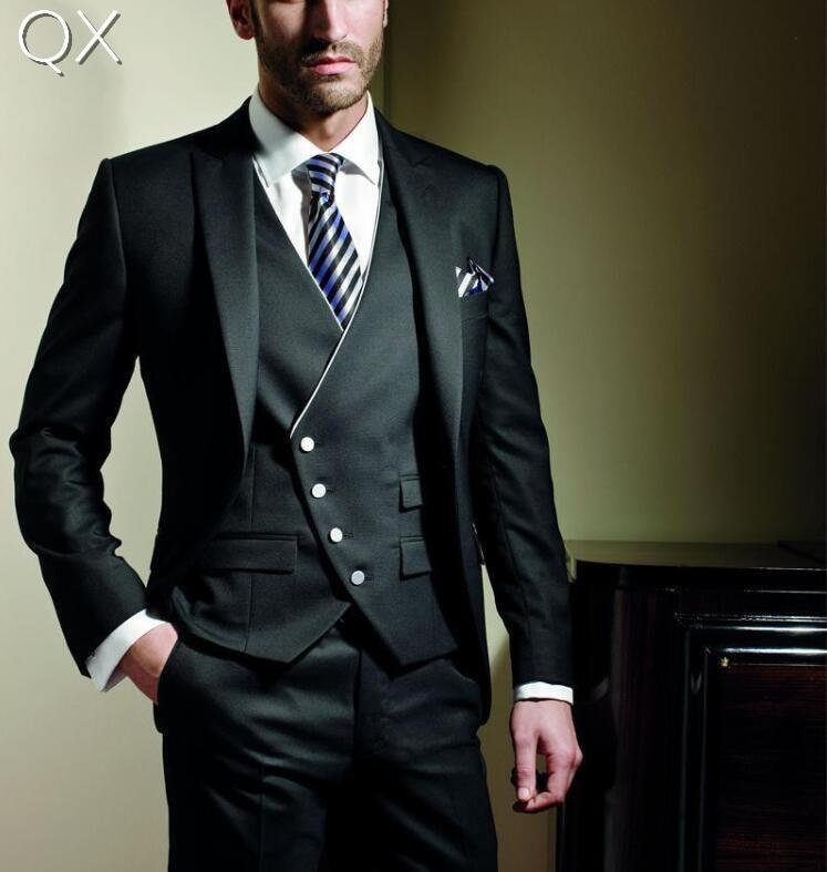 MS3 2017 Trei piese noi moda bărbați Vest negru Off-Center Buton - Imbracaminte barbati