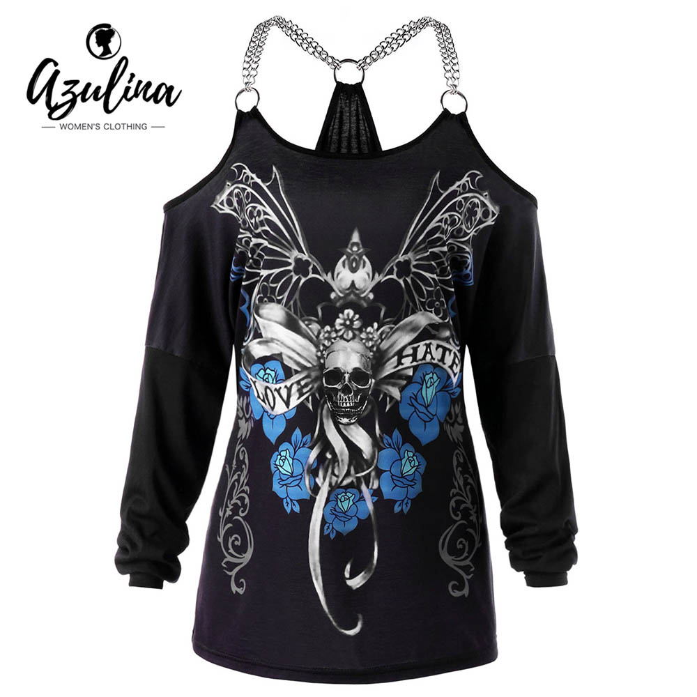 AZULINA Women T-Shirt Plus Size Chains Embellished Skull T-Shirt Punk Casual Off Shoulder Ladies Tops Gothic Tshirt Big Size 5XL