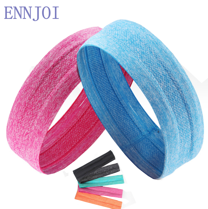 New 7 Colors Elastic Moisture Wicking Polyester Outdoor Fitness Safety Sweat Headband Man Sweatband Woman Yoga Hair Band