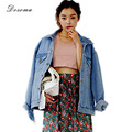 Denim Jacket 2017 Korean Style Vintage Washed Blue Jeans Jacket Spring/Autumn Loose Women Full Sleeve Denim Jacket Female Coat