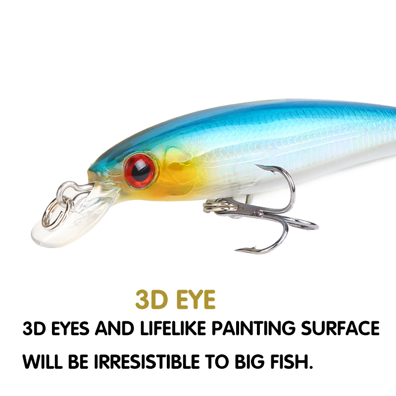 SEAPESCA Minnow Fishing Lure 9cm 7g Hard Bait Artificial 3D Eyes Floating Laser Wobbler Bass Pike Fishing Tackle Pesca JK210A in Fishing Lures from Sports Entertainment