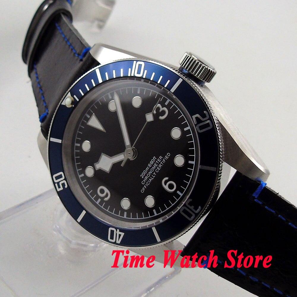 41mm Corgeut black sterial dial white marks blue Bezel sapphire glass deployant clasp MIYOTA Automatic Men's watch cor78 polisehd 41mm corgeut black dial sapphire glass miyota automatic mens watch c102