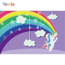 Yeele Rainbow Lovely Unicorn Birthday Party Backdrops For Photography Cloud Baby Poster Photo Backgrounds Photocall Studio