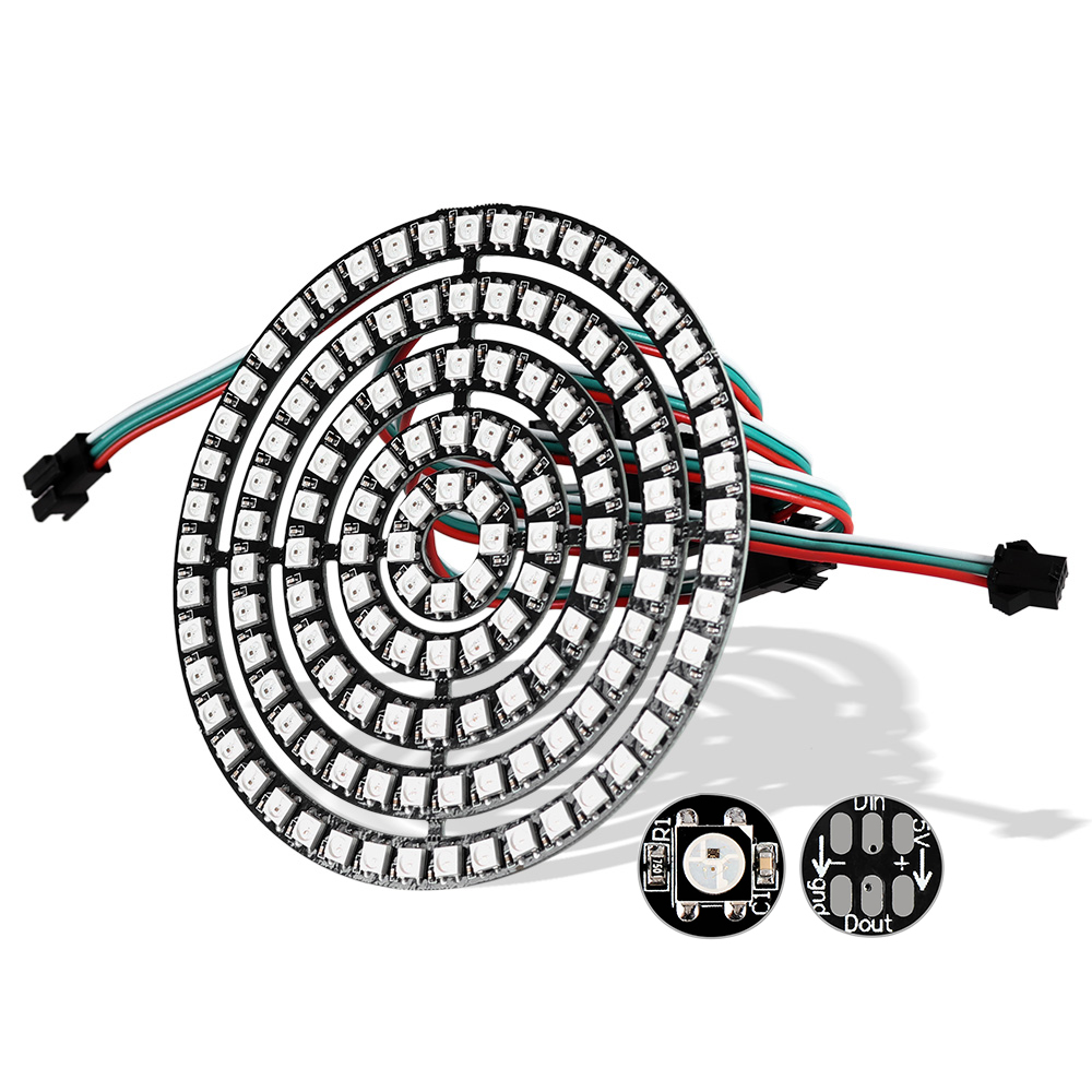 WS2812B LED Module 5050 RGB Pixel LED Ring 1Bit 8Bit 16Bit 24Bit 35Bit 45Bit WS2812 IC Full-color Actuate Lights DC5V