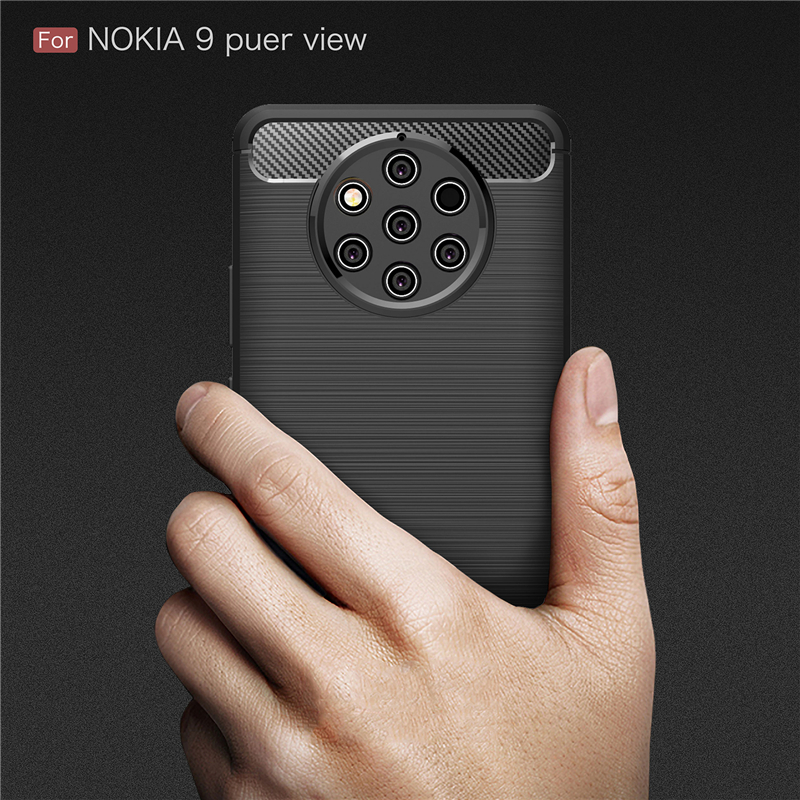 For Nokia 9 PureView Case Tough Bumper Carbon Fiber Case For Nokia 9 Pure View Cover Soft Silicone Coque On For Nokia 9 PureView