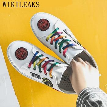 Brand Men Vulcanized Shoes Lace-up Flat Shoes Comfortable White Sneakers Men Black Shoes Zapatillas Hombre Casual Tenis Hombre