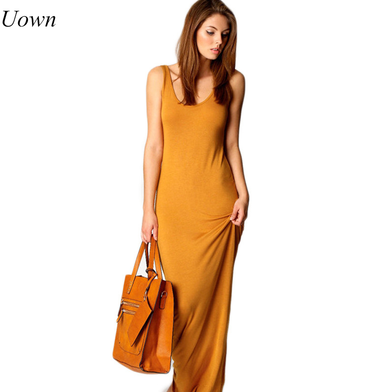Uown Summer Sexy Women Long Dress Slim Tank Dress Solid Round Neck Sleeveless Ankle Length Summer Basic Maxi Dress for Ladies