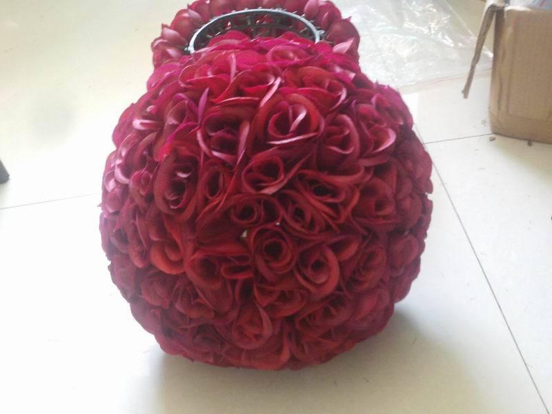 SPR 50 cm beijando bola flor de seda artificial da flor da tabela do casamento decoração de casamento flor de parede flore vermelho escuro