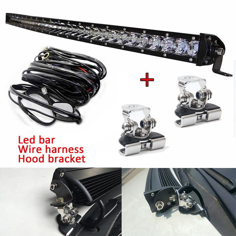 90w 120w 150w Single Row Curved Led Light Bar Driving Working Led Bar with Hood Engine Cover Hood Mount Bracket Wire Harness 12v free dhl ups fedex ship 13 5 72w 2700lm 10 30v 6500k led working bar curved option wire of harness led bar light