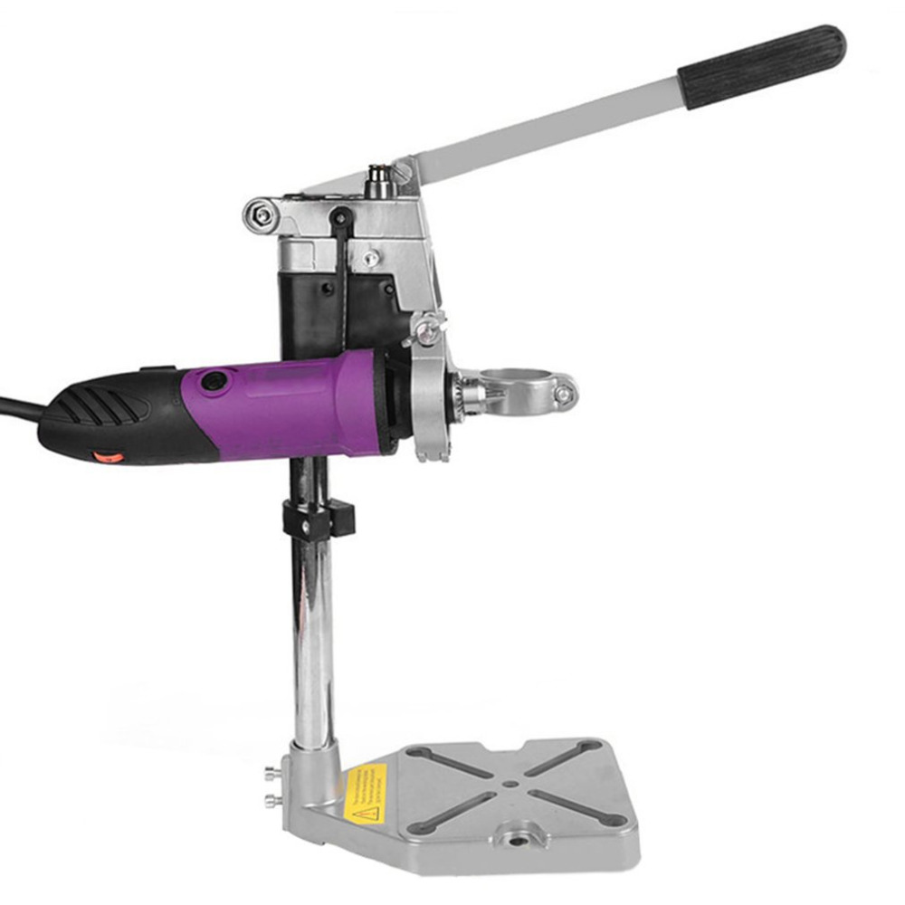 Quality Aluminum Bench Drill Stand Double Clamp Base Frame Drill Holder Electric Drill Stand Power Rotary Tools Storage New new frame model aluminum alloys double