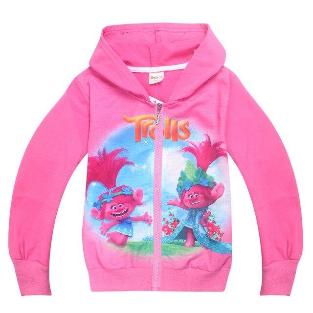 c8fe08d9b955 2017 Girls Autumn Kids Clothing 3 10 Years Cartoon Trolls poppy ...