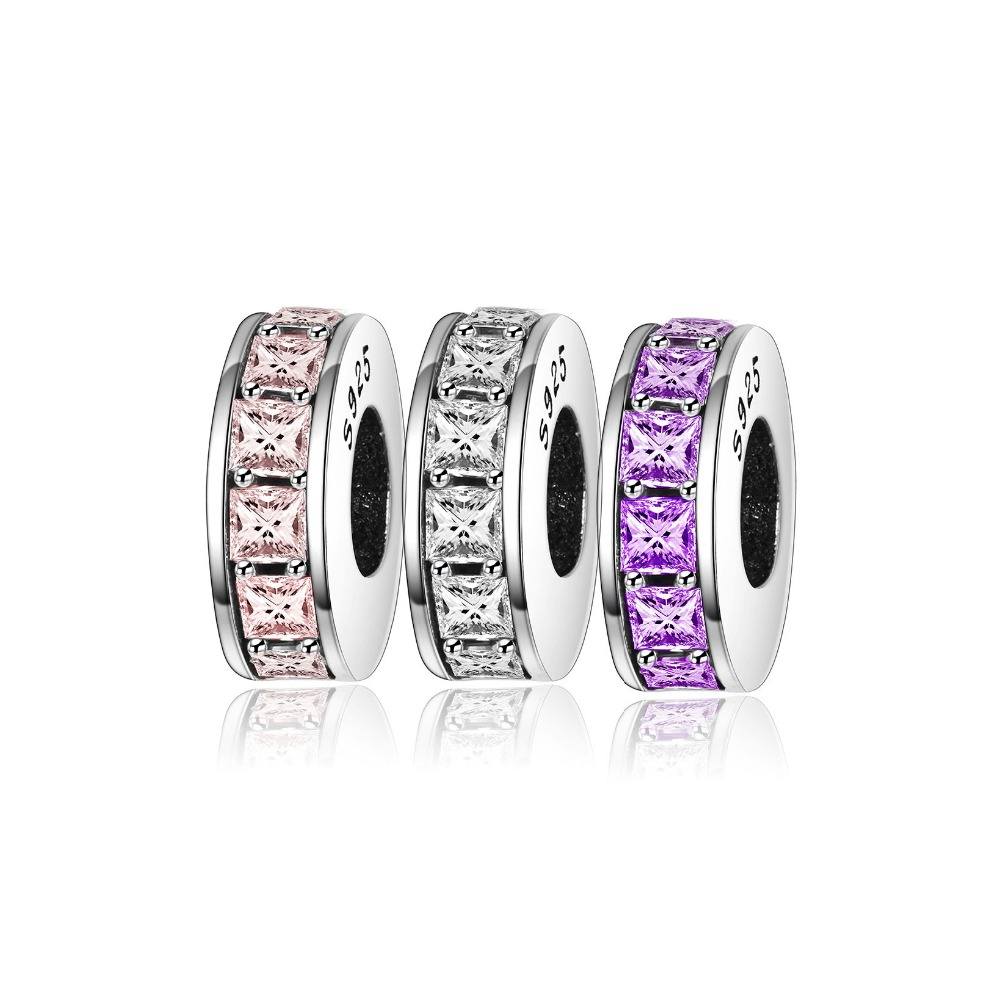 product Fit Pandora Charms Original Bracelet Austria Crystal Spacer Beads For Jewelry Making 925 Sterling Silver Crystal Spacers Charms
