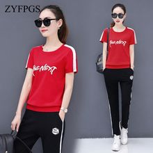 ZYFPGS 2019 2 Piece Summer Tops Set Women Character Tracksuit For Short Sleeves And Long Pants Sweatshirt 4XL SALE Z0712