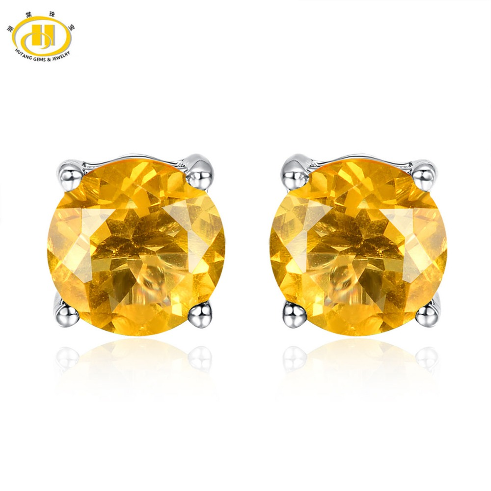 Hutang 4.26ct Natural Yellow Fluorite Round 8mm Stud Earrings Solid 925 Sterling Silver Gemstone Jewelry Womens New ArrivalHutang 4.26ct Natural Yellow Fluorite Round 8mm Stud Earrings Solid 925 Sterling Silver Gemstone Jewelry Womens New Arrival