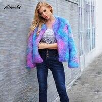 Aikooki Blue Purple Mixing Furry Fur Coat Women Fluffy Warm Long Sleeve Outerwear Winter Faux Fur Coat Hairy Collarless Overcoat
