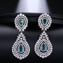 EMMAYA Brilliant Bridal Waterdrop cyrkonia kolczyki duży luksusowy kryształ dla eleganckich kobiet biżuteria ślubna na prezent