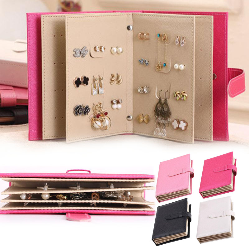 SOLEDI Stud Earrings Collection Book Portable Jewelry Display Storage Box Case Bin makeup organizer jewelry box porta joias
