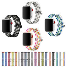 2017 New Colorful Woven Nylon Watch Band For Apple Watch Fabric-like feel Wrist Strap with Metal Adapter for iwatch 38mm/42mm(China)