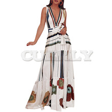 CUERLY Women Summer Long Dress Sexy Pleated Lace Up Sleeveless Sundress Casual Boho White Beach Stripe Floral Print Maxi Dresses цены