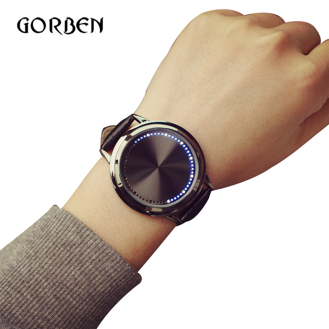 2017 Fashion Casual Mens Watches Leather Touch screen LED Women's Sports watches Mens Bracelet watches gift relogio masculino