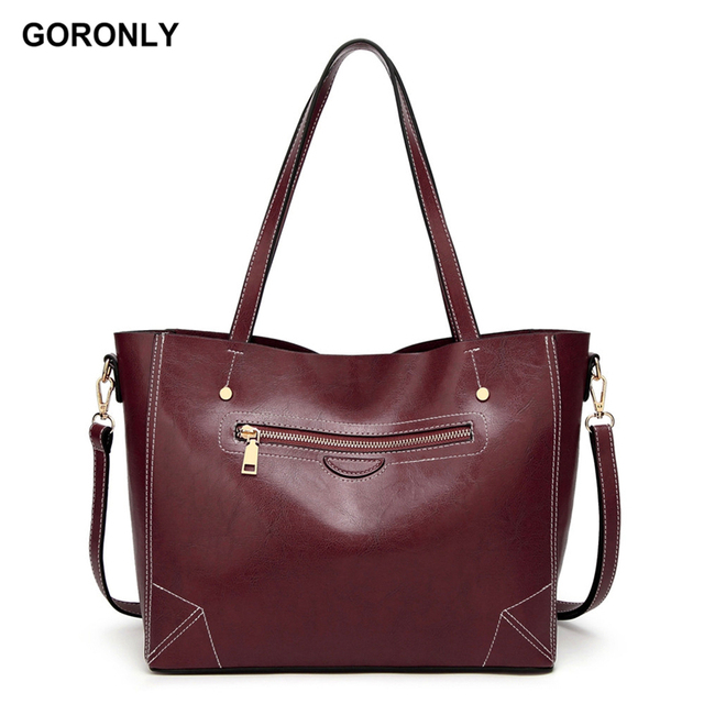 06bc2bd3e8d8 GORONLY Brand New Leather Tote Bag Women Designer Handbags Large Casual Shoulder  Bags Fashion Ladies Purses Messenger Bag Bolsas