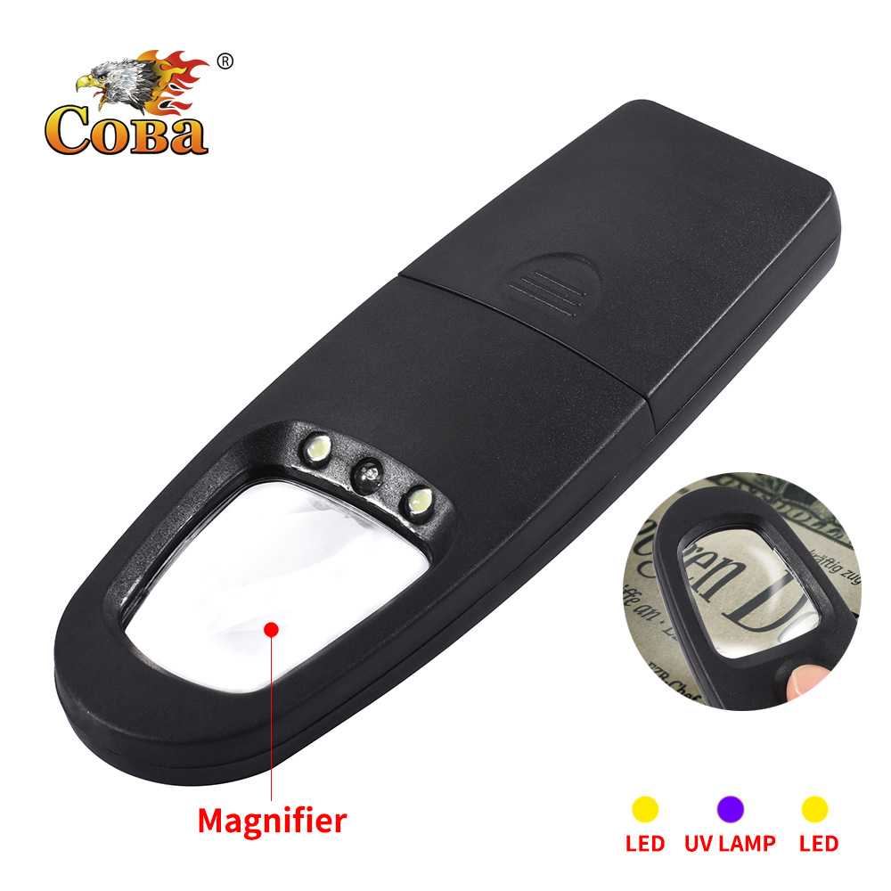Coba New Strange Led Light Magnifier Uv Work Light By 2*AA Battery Mini Flash Lamp Gift For Old People Waterproof