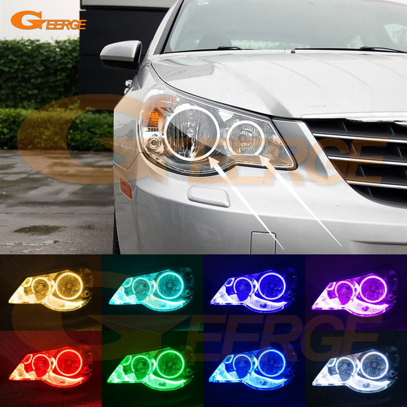 For Chrysler Sebring 2007 2008 2009 2010 headlight perfect compatible Multi-Color Ultra bright RGB LED Angel Eyes kit Halo Rings for alfa romeo 147 2005 2006 2007 2008 2009 2010 headlight ultra bright illumination cob led angel eyes kit halo rings