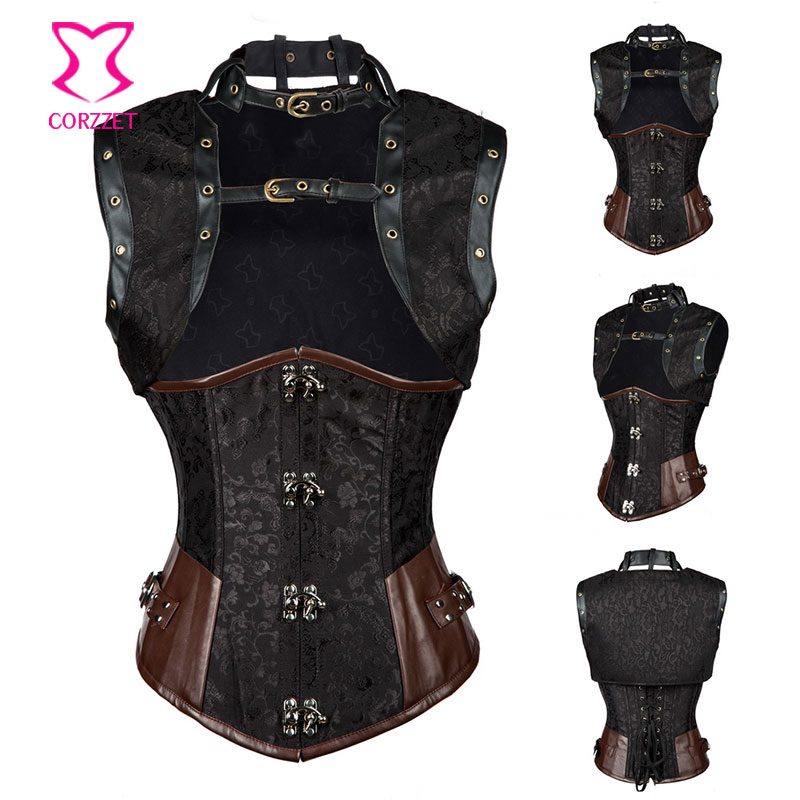 steampunk Black Brocade&leather underbust   corset   sexy gothique korset corselet With Jacket rosetic   bustiers  &  corsets   plus size