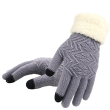 Knitted Gloves Touch Screen Women Thicken Winter Warm Gloves Female Full Finger Soft Stretch Knit Mittens Guantes cheap Gloves Mittens Wool Acrylic Solid Adult Fashion Wrist GLV009 Free Size Daily
