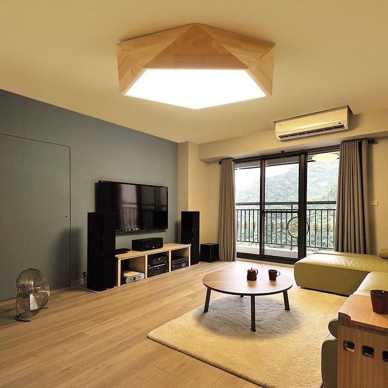 Lukloy prostota w stylu nordyckim nowoczesna lampa sufitowa salon z litego drewna lampa sufitowa LED osobowość twórcza sypialnia lampa sufitowa