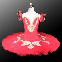 Professional Ballet Tutu Dress Adult Classical Ballet Stage Dance Costume Women Red Pancake Performance Tutus Custom