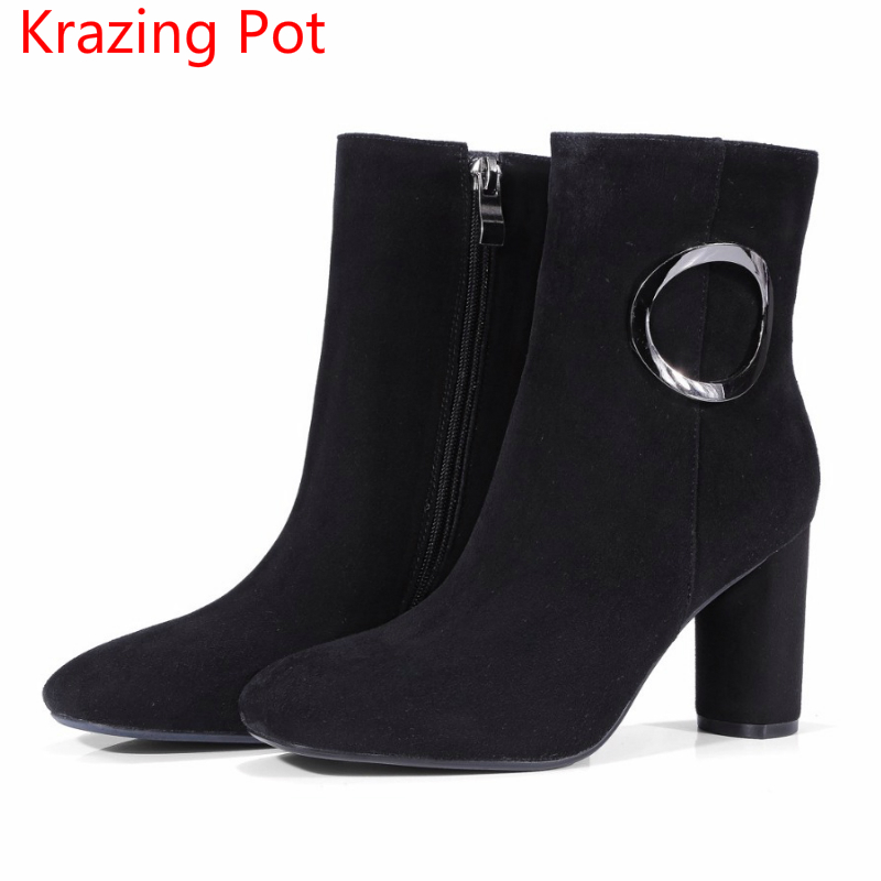 2018 Fashion Sheep Suede Winter Square Toe Superstar Zipper Metal Buckle High Heels Keep Warm Nightclub Women Mid-calf Boots L36 2018 superstar cow suede streetwear square toe zipper high heels winter boots keep warm office lady ankle boots for women l50