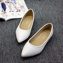 EUR 35-40 Новый Летний ПУ Кожа Удобные Острым Носом Ватные Женщин Тканые Балетки Лодка Обувь OL Случайный обувь