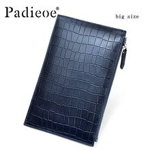 Padieoe 100% Hot Genuine cow leather male day clutches casual wallet pockets Card/ID Holder clutch large capacity man Handbag