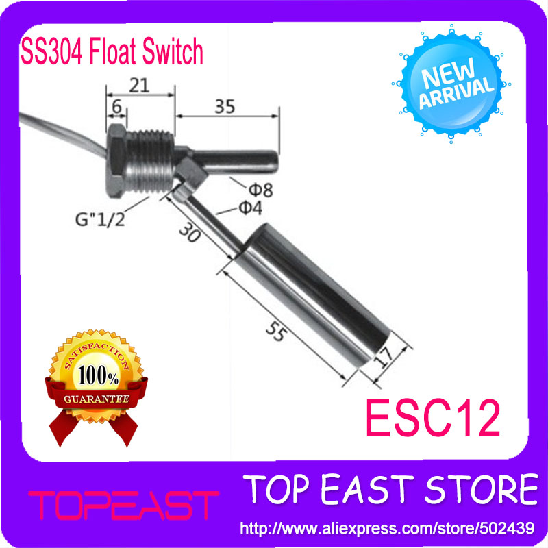 Free Shipping Stainless Steel Water Level Sensor Liquid Float Switch   SU304  Water Sensor Level For Tank Pool  ESC12