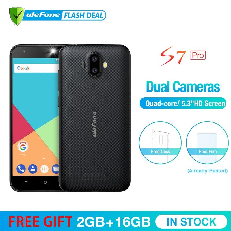 Ulefone S7 Pro 2 gb RAM + 16 gb ROM Dual Câmera Do Telefone Móvel 5.0 polegada HD MTK6580 Quad Core android 7.0 Cam 3 13MP g WCDMA Celular