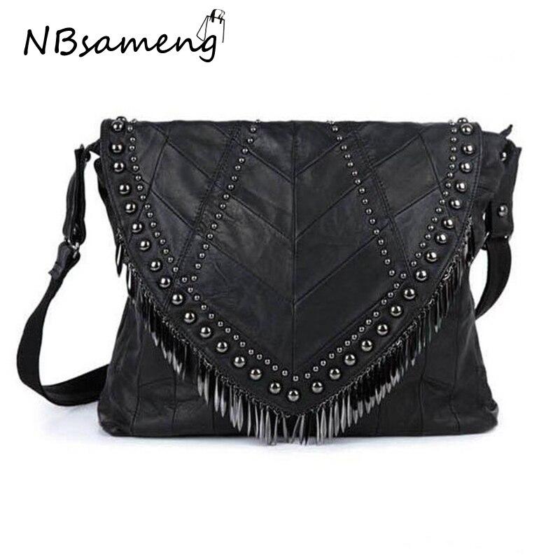 ФОТО 2 Sizes !! 2017 Sheepskin Rivet Punk Handbag Women Bags Designer Brands Big Black Shoulder Bags