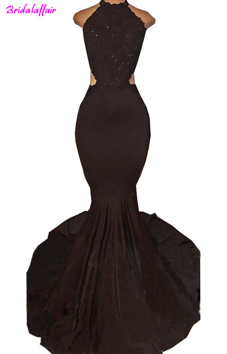 4976fc762395a US $91.2 24% OFF|2018 Sexy Black Halter Satin Mermaid Long Prom Dresses  Lace Sequins Beaded Backless Side Slit Evening Dresses Formal Party  Dress-in ...