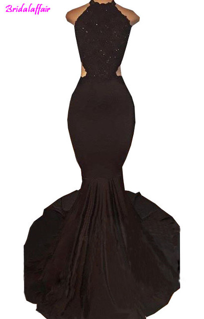 39bb7bd0bf1 2018 Sexy Black Halter Satin Mermaid Long Prom Dresses Lace Sequins Beaded  Backless Side Slit Evening