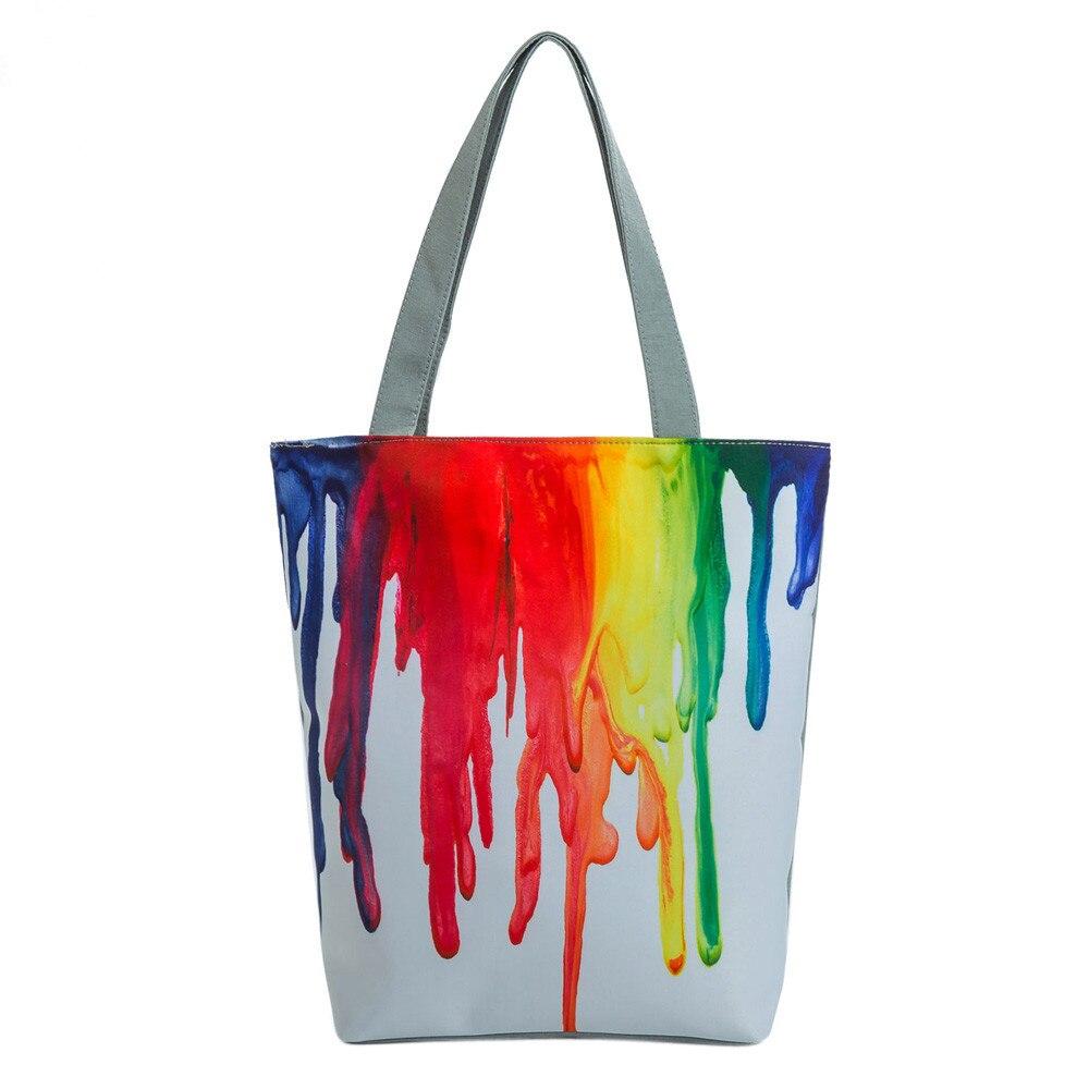 HB @ Femmes de Mode Arc-En-National Vent fourre-tout en toile décontracté sacs de plage Femmes Shopping sac de rencard Sacs À Main