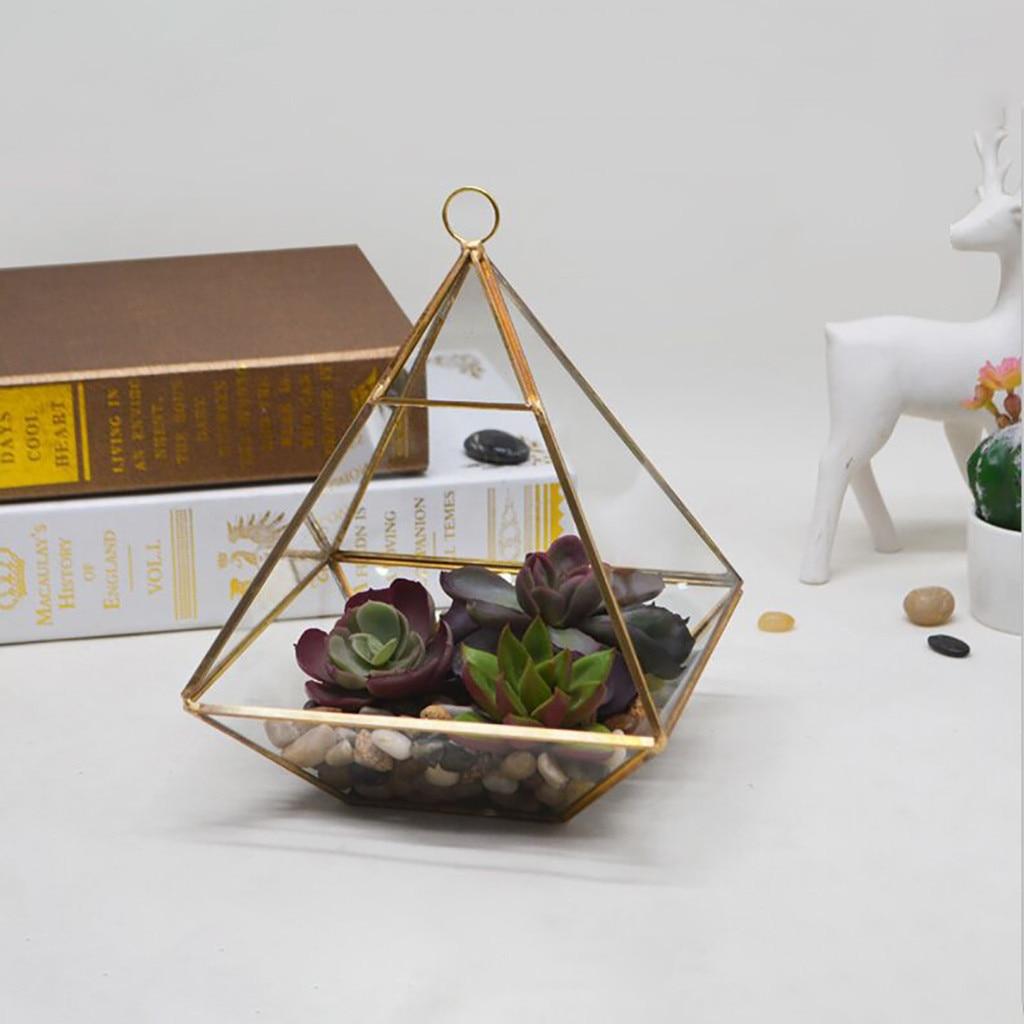 Piramide Verticale Metalen Glas Geometrische Muur Opknoping Terrarium Messing Tafelblad Succulent Lucht Planten Houder