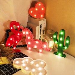 Unicornio led night light bebê flamingo nuvem unicórnio lâmpada cactus estrela lua luz luminaria dos desenhos animados animais crianças quarto decortion